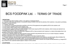 Terms of Trade Form